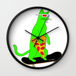 """""""Psychedelic Skateboarding Pizza Cat"""", by Brock Springstead Wall Clock"""