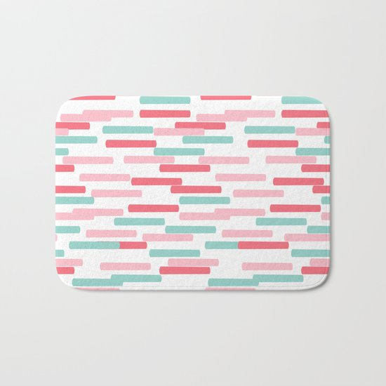 Karena - abstract minimal trendy pattern palette lines dash grid urban affordable dorm college decor Bath Mat