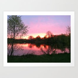 Sunset on St. Mary's Lake Notre Dame Art Print