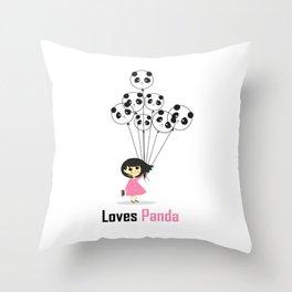 Girl Loves Panda T-Shirt - Panda Lovers T-Shirt For Women Throw Pillow