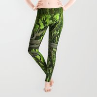artsy Leggings featuring Old English Tree 1 by Aaron Carberry
