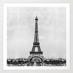 Eiffel tower in B&W with painterly effect Art Print