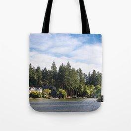 Homes along the shore of Lake Oswego, OR Tote Bag