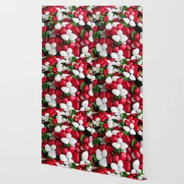 Flowers with sugared almonds as petals. Wallpaper