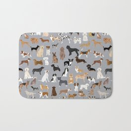 Mixed Dog lots of dogs dog lovers rescue dog art print pattern grey poodle shepherd akita corgi Bath Mat