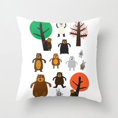 Bears, grizzly and other Throw Pillow