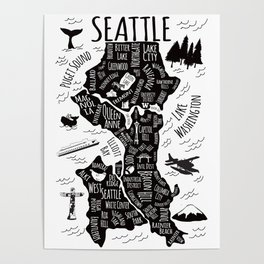 Seattle Illustrated Map in Black and White - Single Print Poster