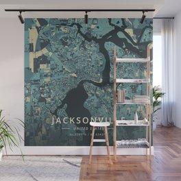 Jacksonville, United States - Cream Blue Wall Mural