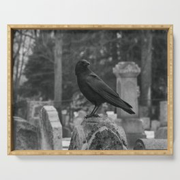 Crow In Shades Of Stone Serving Tray