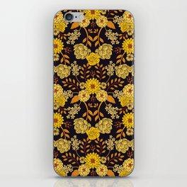 Yellow, Orange & Navy Blue Dark Floral Pattern iPhone Skin