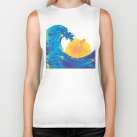 hokusai Biker Tanks featuring Hokusai Rainbow & Hibiscus_Y  by FACTORIE