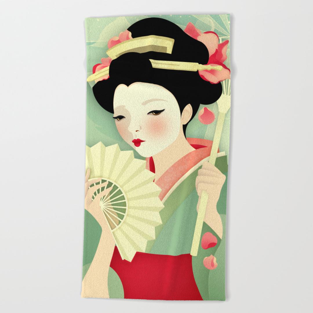 Geisha, Girl, Kitsune and Sakura Beach Towels | Society6