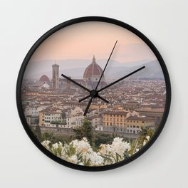 Il Duomo At Sunset Photo   Florence City View In Pastel Colors Art Print   Tuscany, Italy Travel Photography Wall Clock