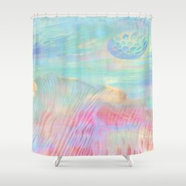HOPSCOTCH SHRINE, a spaceship flying through a pastel art piece Shower Curtain