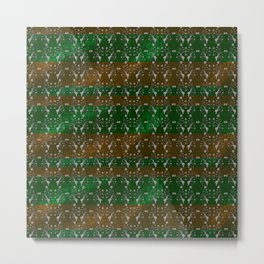 Foil Flower in Green and Gold Metal Print