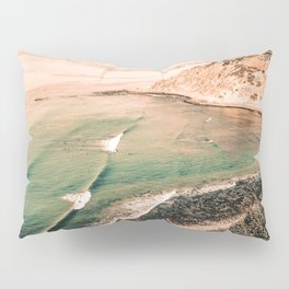 California Pacific Coast Highway // Vintage Waves Crashing on the Beach Teal Ocean Water Pillow Sham