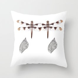 Twin Dragonfly Throw Pillow