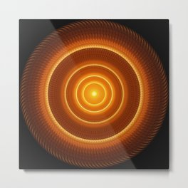 Golden Pulse Mandala Metal Print