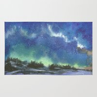northern lights Area & Throw Rugs featuring Northern Lights by Aikunihana