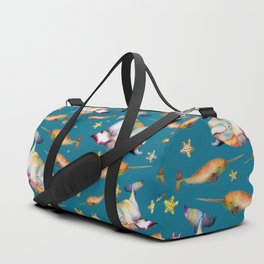 Narhwal Beluga and Bowhead Whales Swimming with the Stars Duffle Bag