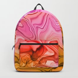 Pink, Orange and Red Alcohol-Ink Painting Backpack