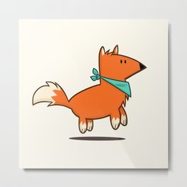 Fox Hop Metal Print