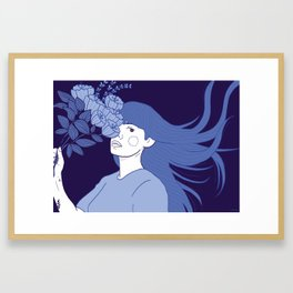 Flowers in her head Framed Art Print
