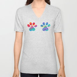 Two Cats Colorful Paws Unisex V-Neck