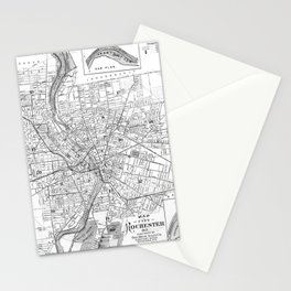 Vintage Map of Rochester NY (1901) BW Stationery Cards