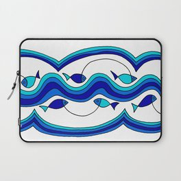 Fish and Waves Colored - Black Lines Laptop Sleeve