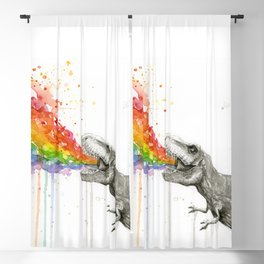 T-Rex Dinosaur Rainbow Puke Taste the Rainbow Watercolor Blackout Curtain