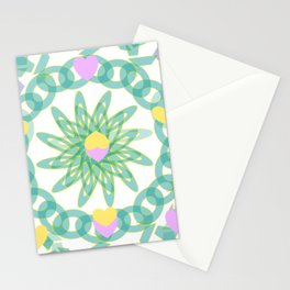 Tropical Pastel Hearts Stationery Cards