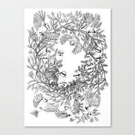 Birds tree botanical pattern Canvas Print