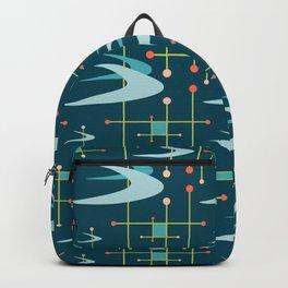 Mid Century Modern Boomerangs in Blues Backpack