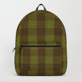 Winter Brown and Green Checkerboard Plaid Christmas Burlap Cloth Backpack