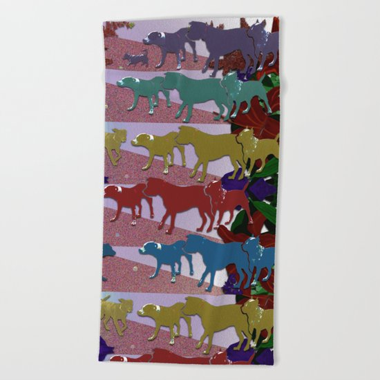 Dogs and Flowers Beach Towel