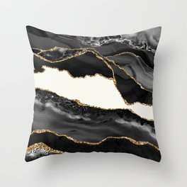 In the Mood Black and Gold Agate Throw Pillow