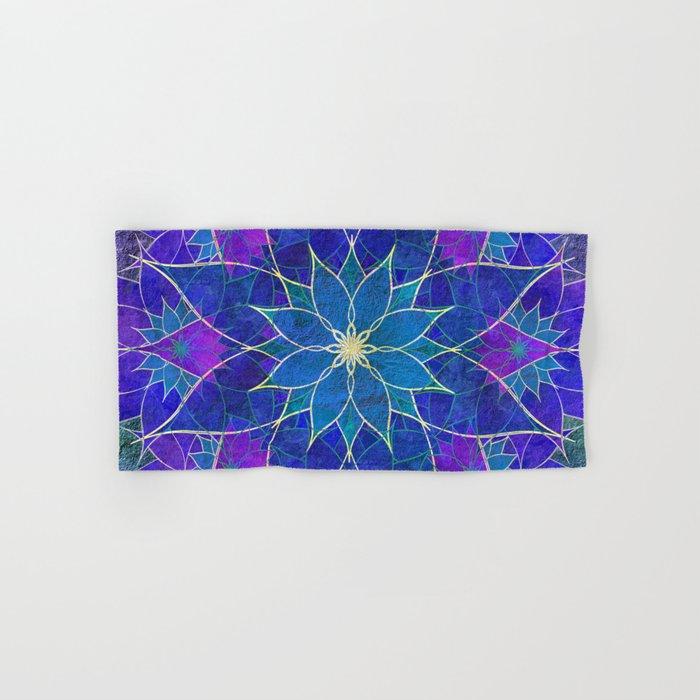 Lotus 2 - blue and purple Hand & Bath Towel
