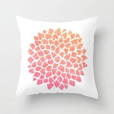 Coral Sea Glass Dahlia Throw Pillow