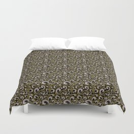 Intricate Victorian Scroll Pattern With Deep Purples and Greens Duvet Cover