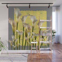 Grey & Yellow Pattern Calla Lilies Art Wall Mural