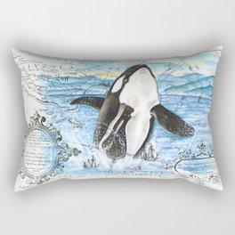 Breaching Orca Ancient Map Rectangular Pillow