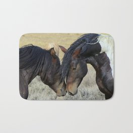Two Brown Wild Horses Nuzzling Bath Mat