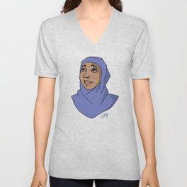 Hijabi in Blue Unisex V-Neck