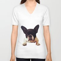 frenchie V-neck T-shirts featuring Frenchie by lori