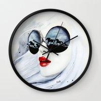horses Wall Clocks featuring Wild Horses by anna hammer