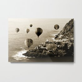 Flying Hot air Balloons over Newfoundland Monochrome Sepia color Metal Print