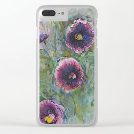 """""""Hollyhock Blossoms"""" Clear iPhone Case"""