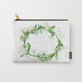 Green floral wreath in watercolour Carry-All Pouch