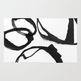 Minimalist Abstract Black Ink Painting Rings 2 Rug